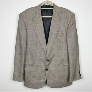Vtg Pierre Balmain Silk Wool Plaid Blazer Jacket